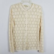 Vintage hand crocheted Ivory cardigan sweater size M