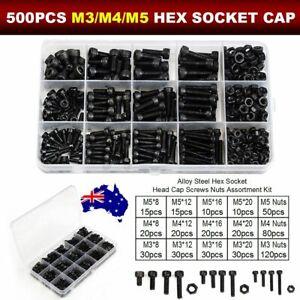 500PCS Hex Socket Head Screw Cap Bolts and Nuts Carbon-Steel Kit M3 M4 M5 Set