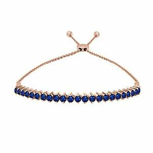 14K Rose Gold Over 1CT Round Cut Real Sapphire Tennis Adjustable Bolo Bracelet