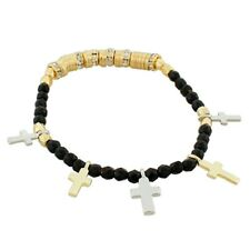 Fashion Black Gold Silver Latin Cross Religious Stretch Beaded Bangle Bracelet