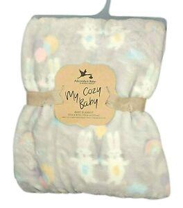 NWT Adirondack My Cozy Baby Bunny Balloon Rainbow Gray Blanket Lovey Pastel NEW