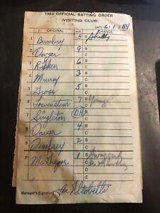 RARE - 1983 ORIOLES BATTING ORDER SHEET - ALTOBELLI SIGNED