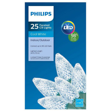 Philips 25ct Cool White LED Faceted C9 String Light Lighted 24 FT Christmas