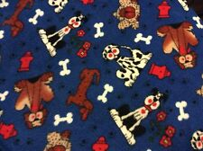 "dog dalmatian puppy bone toy flower fleece fabric on blue 60""w, sold BTY"