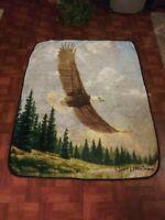 James Hautman Art Soaring Bald Eagle Throw Blanket Northwest 50 x 63