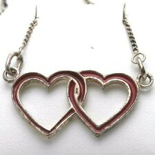 Vintage Double Heart Red Enamel 925 Sterling Silver Necklace WOW