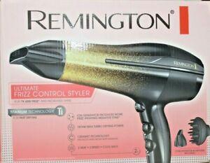 New Remington 1875W Hair Dryer - 3 Heat/2Speed+Cool Shot- New Black&Gold