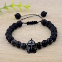 Exquisite Black Spartan Helmet Beaded Natural Stone Adjustable Macrame Bracelets