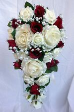 Teardrop Wedding Bouquet Ivory and Burgundy Roses With Pearls