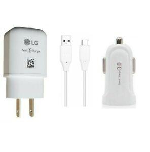 LG OEM Fast Wall+LG USB-C(Non OEM QC3.0 Car Adapter)For LG G5/G6/G7/G8/G8x ThinQ