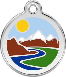 Stainless Steel Red Dingo Mountain ID Collar Charm Dog Tag Small Medium Large