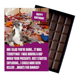 Whippet Birthday Card Dog Lover Gift Idea 100g Chocolate Bar for Him Her UK