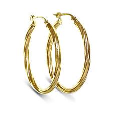 9 CT Yellow Gold Large Creole Hoop Twist Design Earrings (00256)