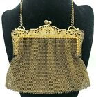 ANTIQUE SIGNED STERLING SILVER GOLD OVER SILVER MESH PURSE  OPEN WORK ENGRAVED