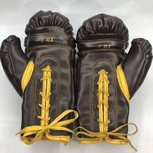 Vintage Everlast 7 Oz BOYS Boxing Gloves Brown Leather -I Have 2 Avail, So Box
