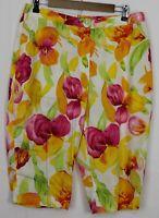 EVAN PICONE Size 14 Women's Pants Capri Length White w/ Multicolor Floral Print