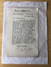 Sunday Times Letter Publisher Ephemera