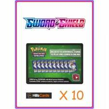 10 Pokemon Sword and Shield Base Set Codes: TCG Online Booster Code Cards TCGO &