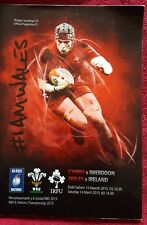 Wales vs Ireland Match programme 6 nations 14th March 2015