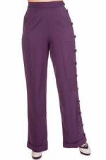 Polyester Wide Leg Mid Rise Tailored Trousers for Women
