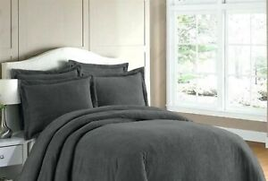 Luxury 100% Cotton Chenille Charcoal Grey Duvet Cover Set *ALL SEASONS* Modern