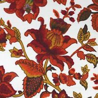 Marcus Bros Retro Style Fabric Burnt Orange Floral 2.33 yds 60 wide Coral