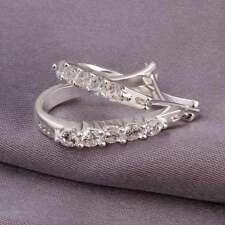 Fashion 925Sterling Solid Silver Jewelry Crystal Cute Hoop Earrings Women E312