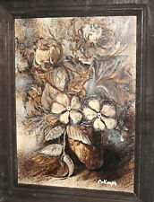 MODERNIST OIL PAINTING STILL LIFE WITH FLOWERS SIGNED