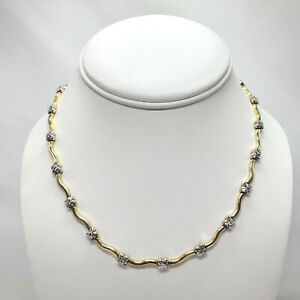 """AURAFIN 14k Two Tone Gold Thick Squiggle Link Necklace 16"""" Yellow White 14g"""