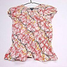 Pink & Red Peasant Top M  Print S/S Blouse Womens Shirt Medium  Izod