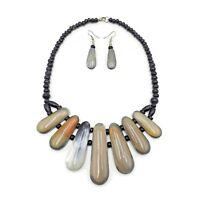 Fashion Buffalo Horn Statement Necklace Bib Genuine Natural Jewelry Earrings