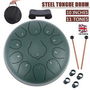 Steel Tongue Drum 10 inch 11 Notes Hand Drum w/Mallets Finger Picks Bag Full Set