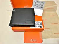 HUGO BOSS '50332396' 'PULSE_4CC' BI FOLD BLACK SMOOTH LEATHER NOTE COIN WALLET