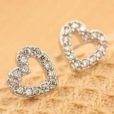 Silver Ear Stud Earrings Jewelry 1Pair Women Elegant Heart Crystal Rhinestone