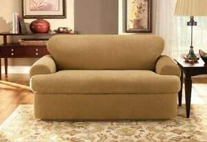 Stretch Pique Three Piece With Back Cushion T-Sofa Slipcover GOLD