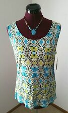 NWT Style&Co. Ladies Size L Sau Paulo Turquoise/Lime Brazilia Tile Sequined Tank