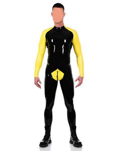 100%  Latex gummi rubber schwarz&gelb strumpfhose sport fitness mode bodysuit