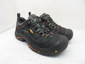 Keen MEN'S BRADDOCK LOW STEEL TOE Work Shoe BLACK/BOSSA NOVA Size 8D