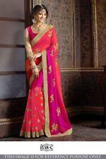 Pink Coral Indian Bollywood Designer Georgette Saree Sequin Sari PartyWear Dress