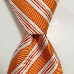 HERMES 758786T Men's Silk Necktie FRANCE Luxury STRIPED Orange/White EUC Rare