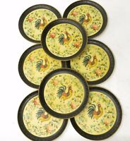 Vintage 1940'S JAPAN Handpainted LACQUER ROOSTER DECORATIVE PLATES Set of 8