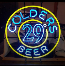 "New Colders 29 Beer Neon Light Sign 24""x24"" Lamp Poster Real Glass Beer Bar"