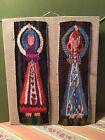 1968 Swedish Fine Weaving Traditional Lady Dress Dance Miniature Tapestry MCM