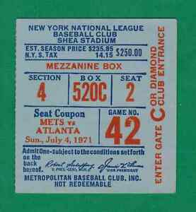 1971 NEW YORK METS VS. ATLANTA BRAVES TICKET STUB AARON 2-4 HR NIEKRO CG SHUTOUT