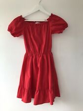 & Other Stories Red Puff Sleeve Short Dress Size 8 Wide Or Bardot Shoulder