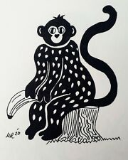 DAILY SKETCH:Original Ink Drawing 'Monkey' by Michelle Ranson