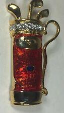 New GOLF BAG Gold-Tone Brooch Pin w Crystal Rhinestones & Red Enamel