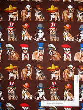 Puppy Dog Hat Mustache Humor Cotton Fabric Kanvas Studio Who's Your Doggy - Yard