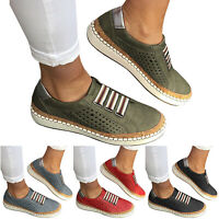 Women's Slip On Hollow Out Flat Shoes Round Toe Breathable Sneakers Shoes Size