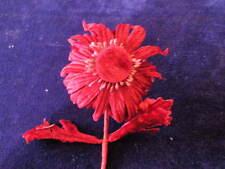 "Millinery Flower Velvet Daisy 3"" Shaggy Rich Burgundy Y105 Hat Wedding Hair"